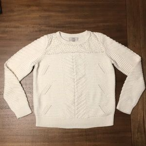 LOFT sweater with sheer Lace. Women's Size L